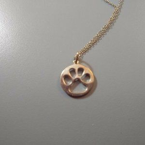Sterling silver dog paw pendant necklace